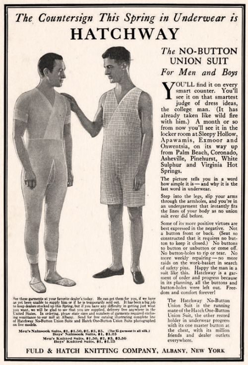 Hatch Union Suit 1922 1920s Men Mens Suits Vintage Advertisements
