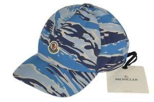 152.99 NEW MONCLER MEN S BLUE CAMO LOGO BASEBALL BALL CAP HAT ONE SIZE 11093891f9e