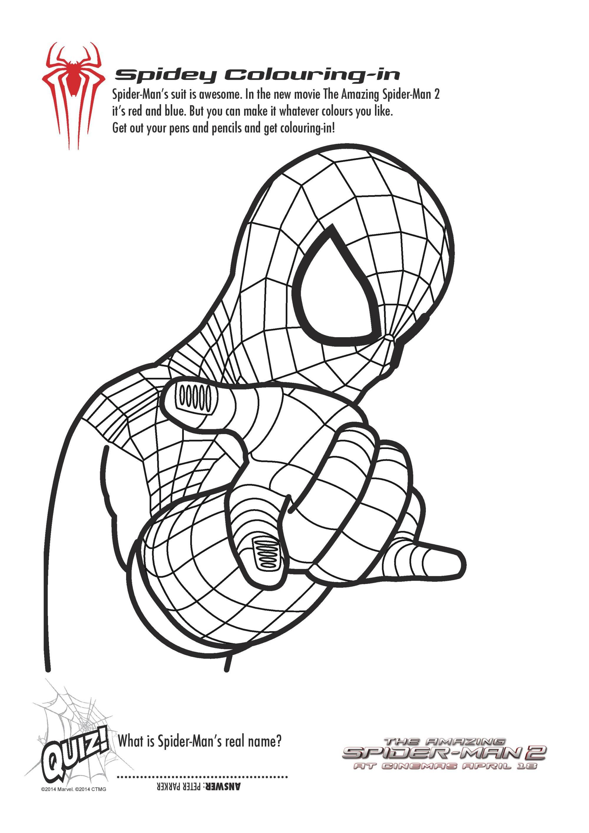 free printable spiderman colouring pages and activity sheets