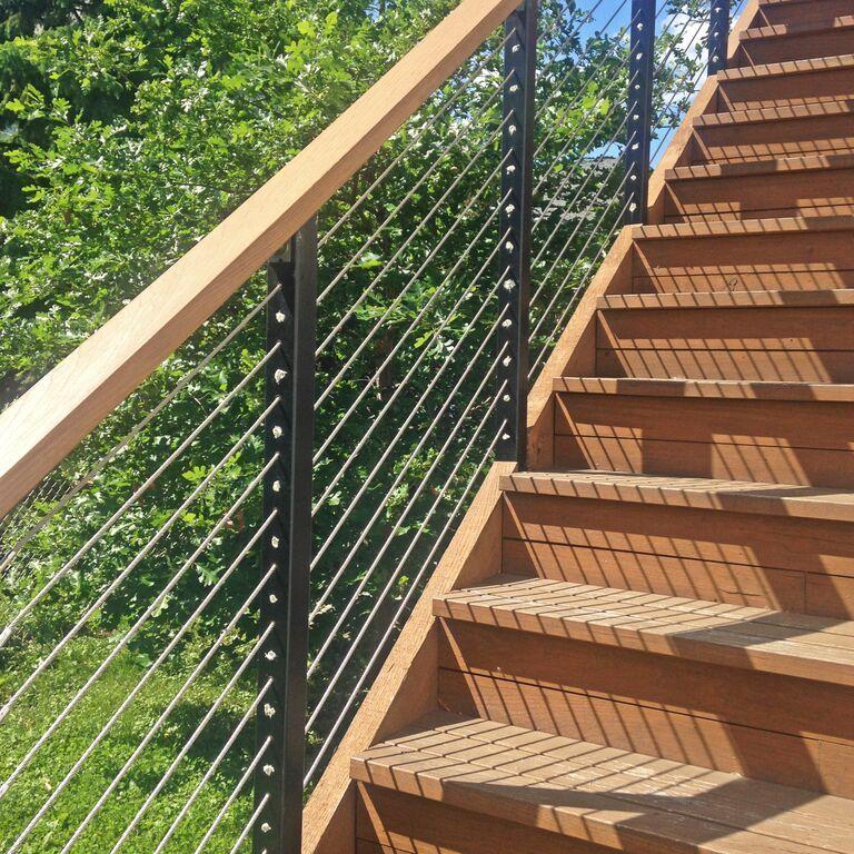 Best Rooftop Deck Staircase Railing In Minneapolis Mn Black 400 x 300