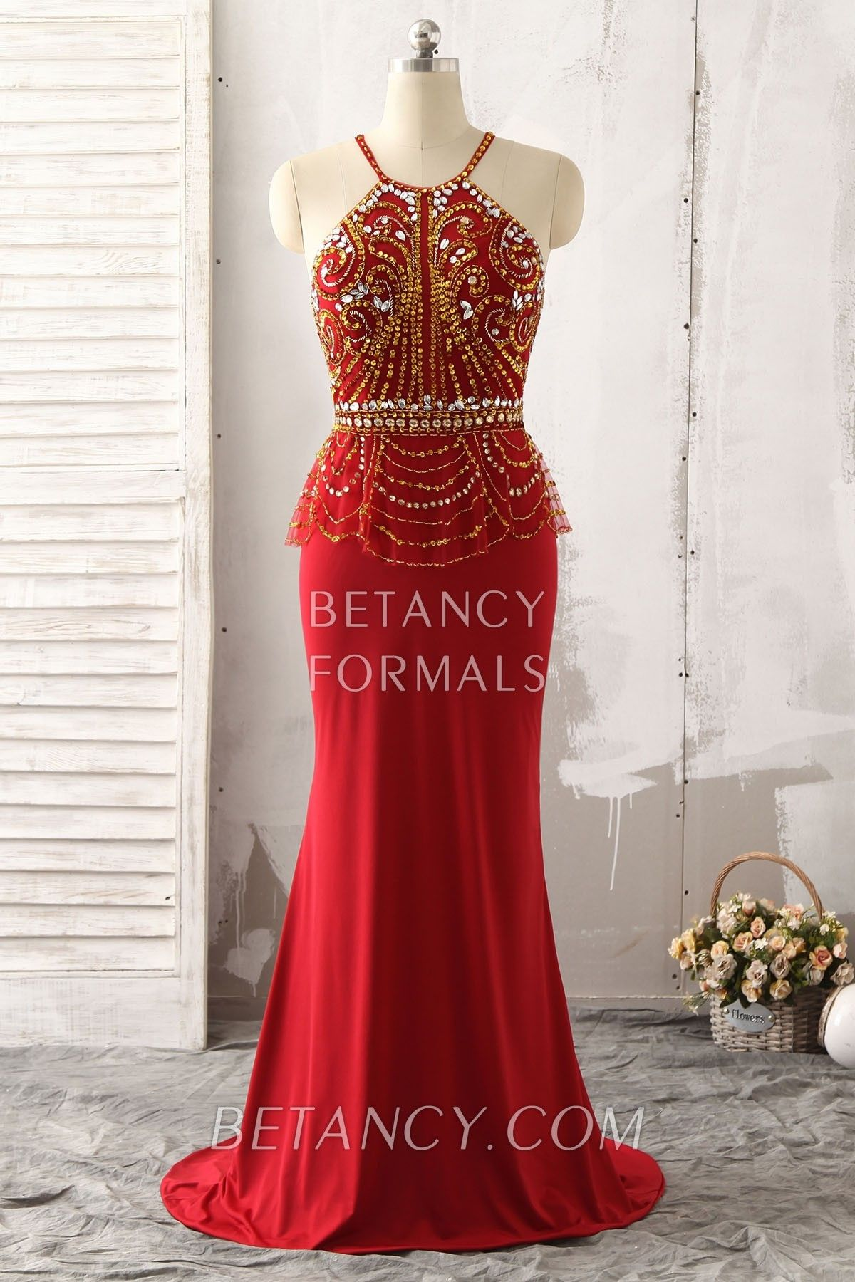 Silver and gold beading mermaid red halter floorlength evening prom