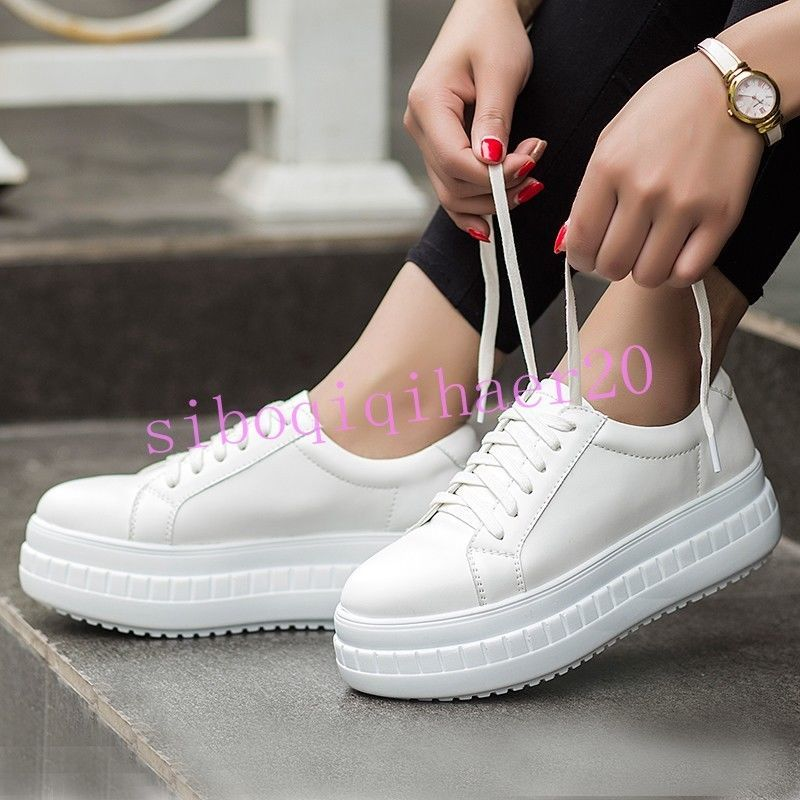 Creeper Platfrom Casual Retro Round Toe Women Lace Up Fashion College Sneakers