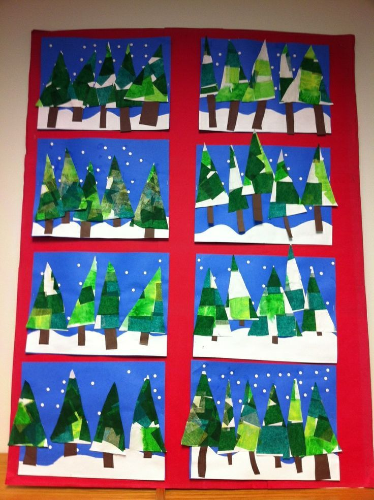 Apex Elementary Art Winter Trees With Tissue Paper And Hole Punched Snowflakes Christmas Art Projects Winter Art Lesson Winter Crafts For Kids