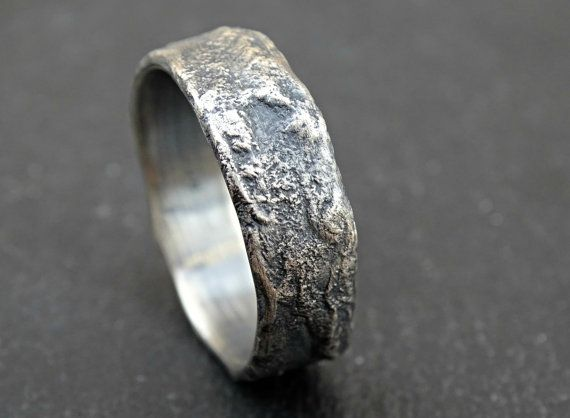 Molten Silver Ring Rich Structure Mens Wedding Ring Unique Etsy Mens Wedding Rings Unique Rings For Men Wedding Rings Unique