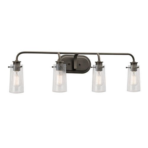 Kichler braelyn 4 light 34 wide vanity light bathroom fixture with kichler braelyn 4 light 34 wide vanity light bathroom fixture with seedy glass shades olde mozeypictures Image collections