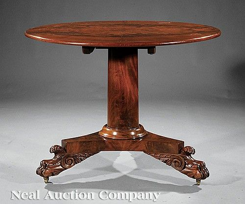 An American Classical Carved Mahogany Center Table, Early 19th C., School  Of Anthony · Furniture MakersAntique ...