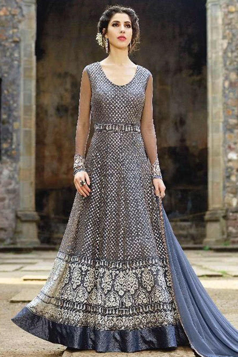Latest Indian Salwar Kameez Bridal Heavy Embroidery Long Suit Grey Gown Dress Other Women's Clothing Women's Clothing