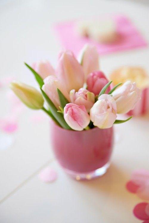 Deko Ideen Mit Tulpen  Rosa Tulpen Rosa Vase Romantische Atmosphäre  Schaffen Zu Hause