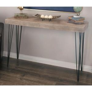 Litton Lane Modern Elegance Gray Wood And Iron Console Table 56974 The Home Depot Iron Console Table Metal Console Table Wood Console Table
