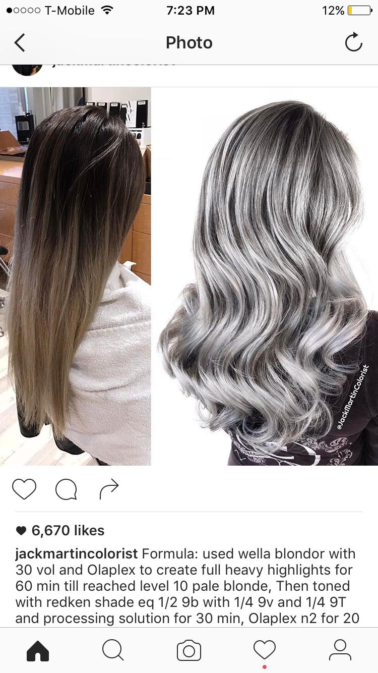 86426e72eb Grey / silver hair color formula | Redken color in 2019 | Hair color ...