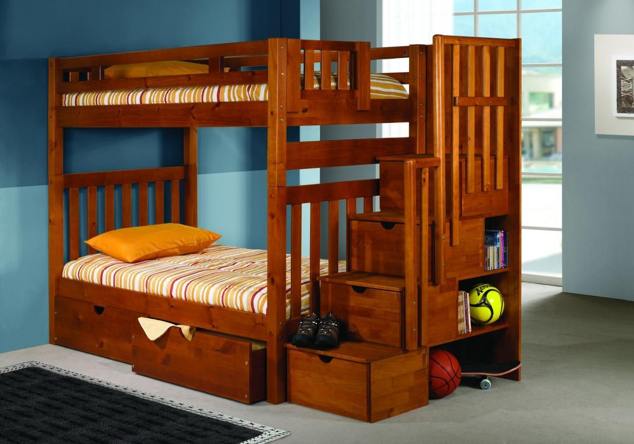 Solid Wood Oak Staircase Stairway Bunk Bed With Storage Childrens Furniture In Houston Wooden Bunk Beds Bunk Bed Plans Bunk Beds With Storage