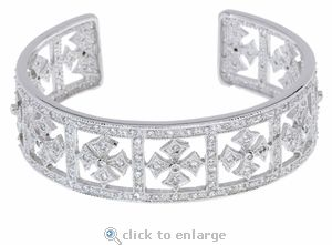 Cubic Zirconia Cuff Bracelet in 14K White Gold by Ziamond.  The Royal Crown Cuff Bracelet features a royal cross motif with approximately 5 carats in total carat weight.  $4295 #ziamond #cubiczirconia #cz #bracelet #cuff #jewelry #diamond #wedding
