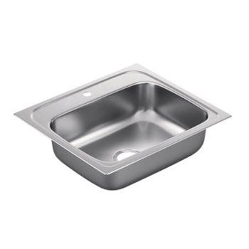 Moen G221961 2200 Series 22 Gauge 1 Hole Single Bowl Drop in Kitchen Sink - Stainless Steel