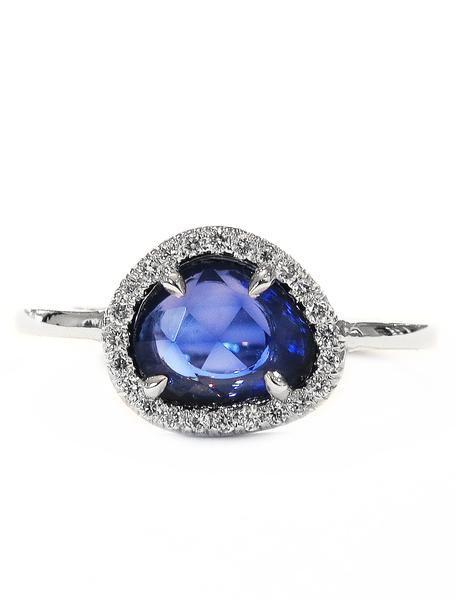 Salma 1ct Blue Sapphire Slice Engagement Ring Engagement Rings Sapphire Pink Morganite Engagement Ring Onyx Engagement Ring