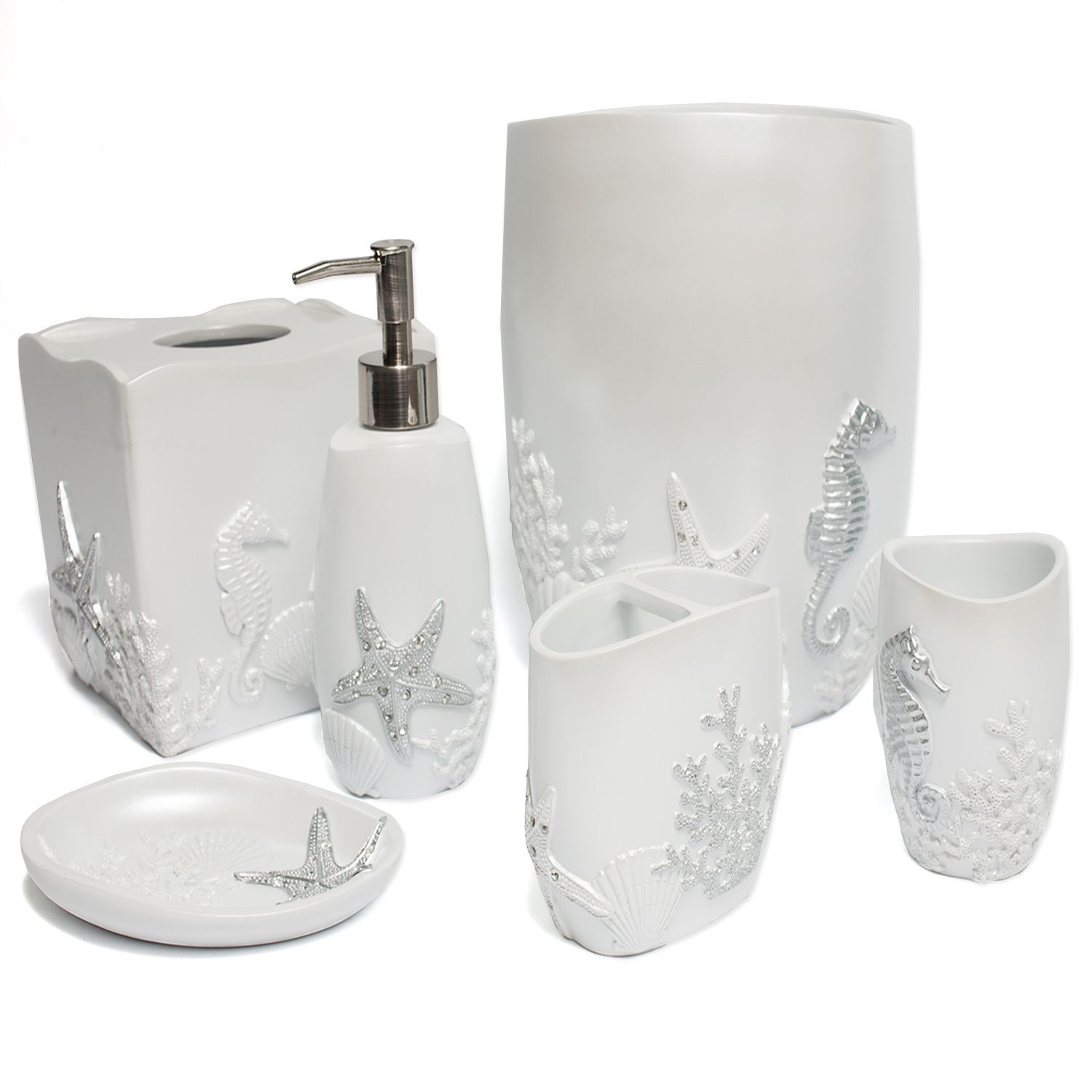This ornate hand crafted bathroom accessory set is available as a ...