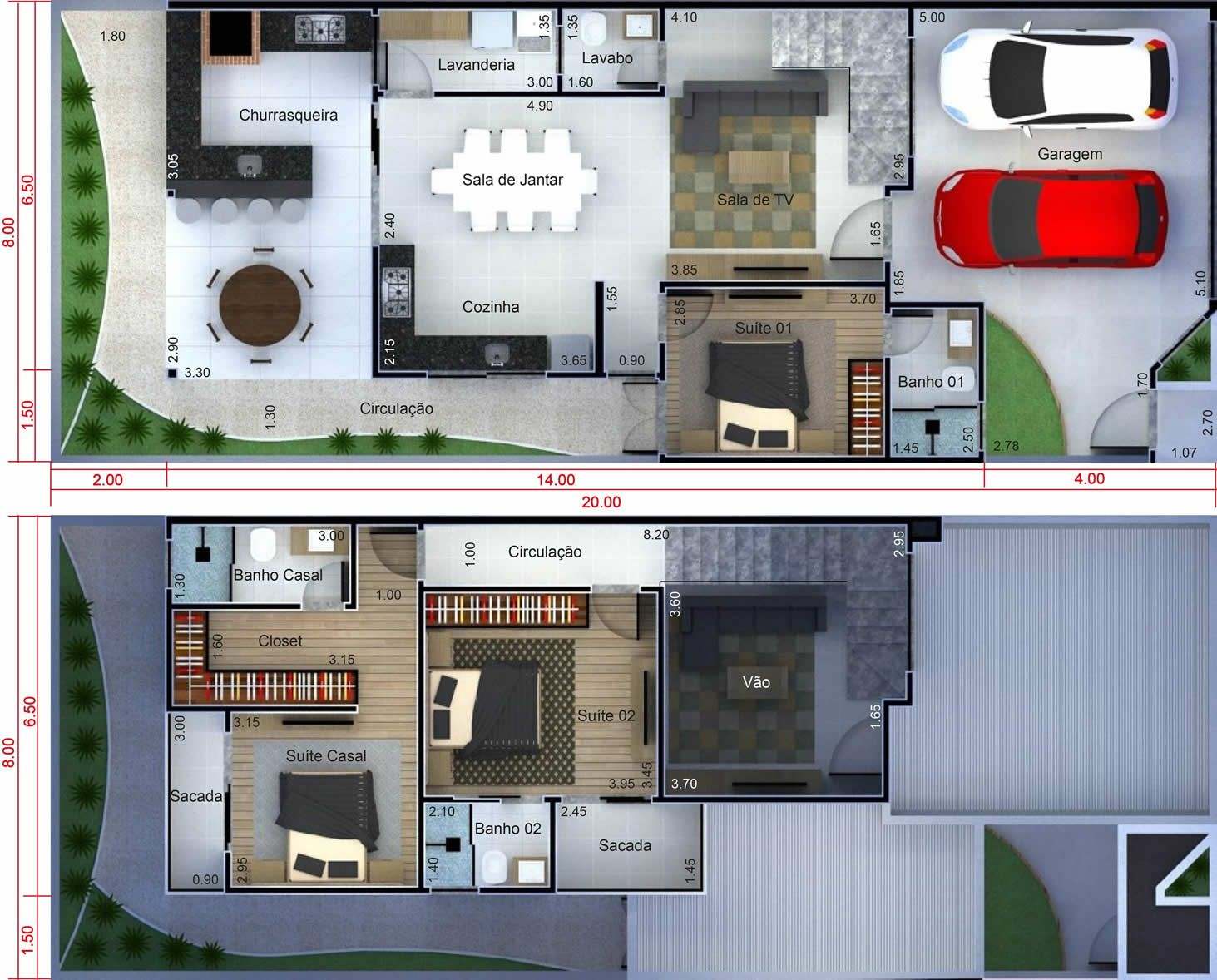 Plano de casa con gastronom a plano para terreno 8x20 for Casas modernas 8x20