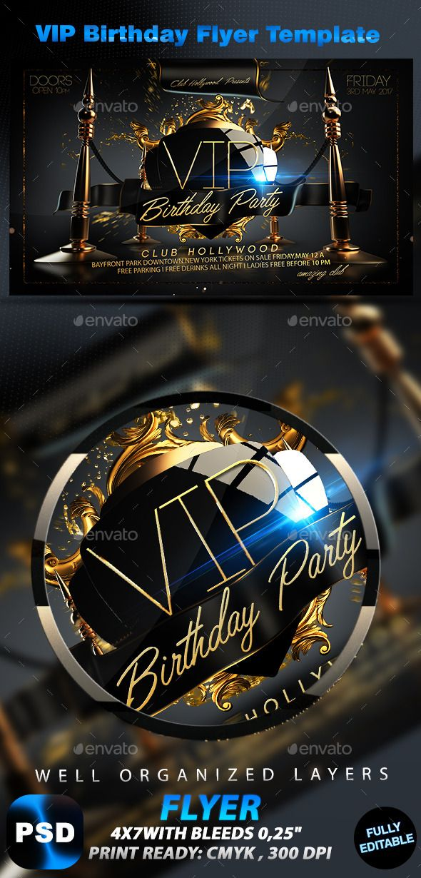 VIP Birthday Flyer Template Flyer template, Birthdays and Fonts - birthday flyer templates free