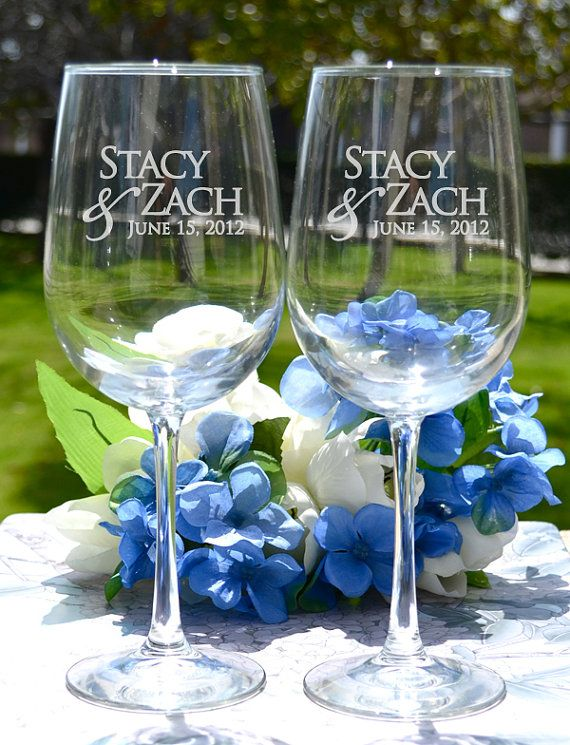 Personalized Wedding Gift Wine Glasses Set Of Two Custom Engraved