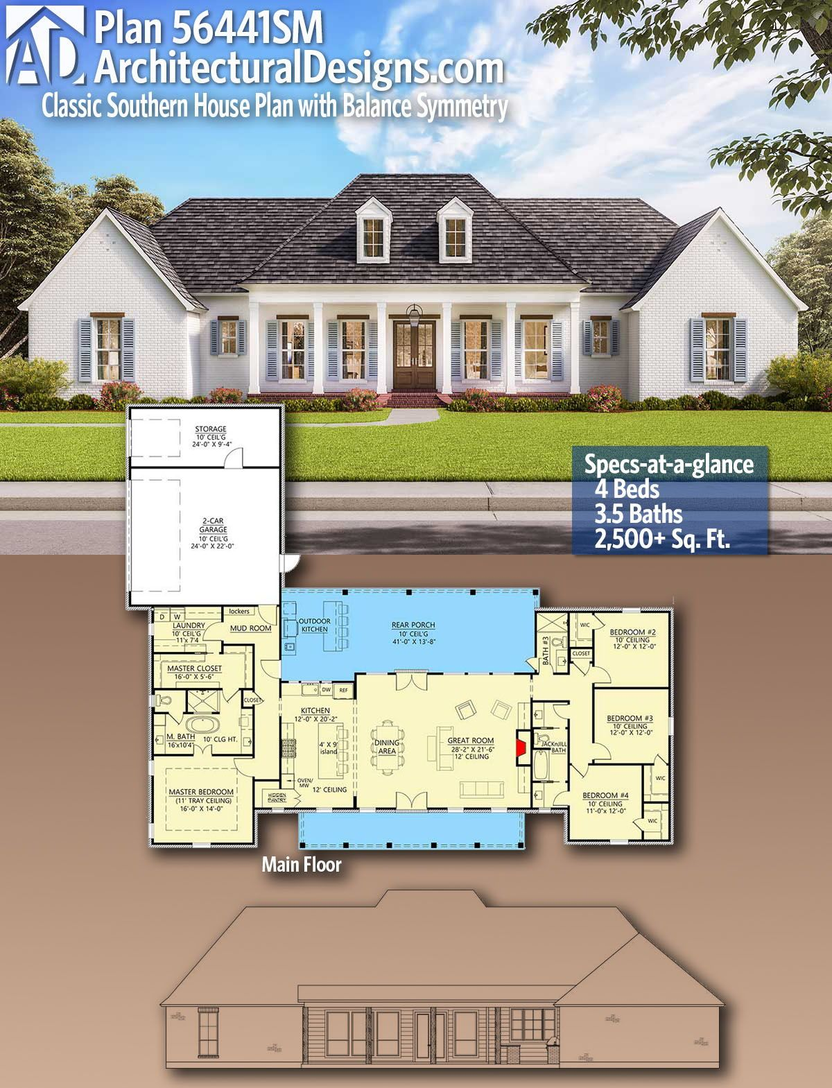 Plan 56441sm Classic Southern House Plan With Balance And Symmetry House Plans Farmhouse Southern House Plan Dream House Plans