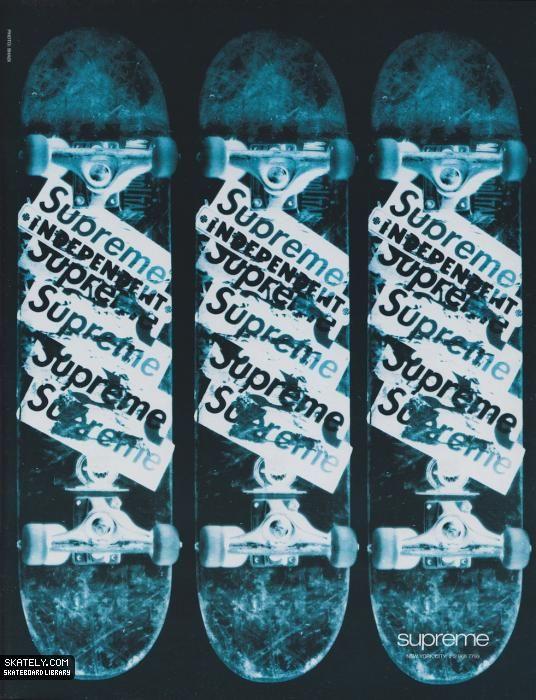 7e27fc17df Supreme Skate Shop - Stickered Decks Ad (1995)   Tre Flip Thrashing ...