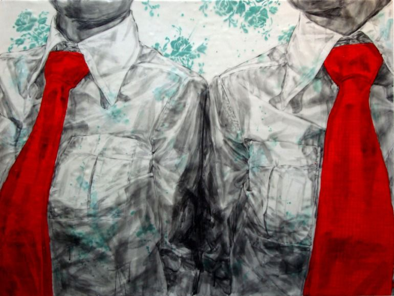 "Natalie Waldburger ; Encaustic Wax, 2010, Painting ""Tied 5""; red color emphasis"