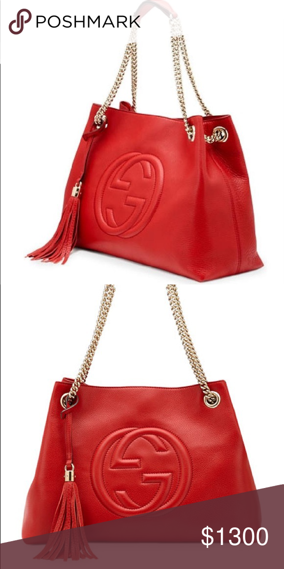 c1cab08618ed Gucci Soho Medium Chain Tote Barely used red leather soho medium  chain-strap tote In