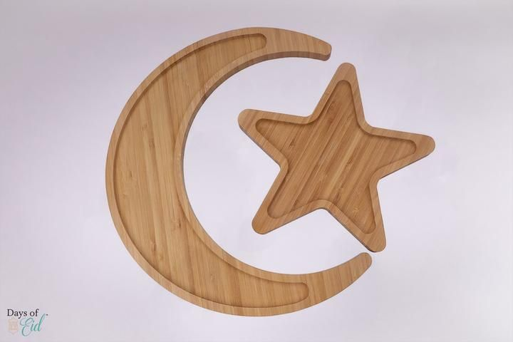 Moon & Star Platter – Days of Eid Eid Moon, Party Supplies, Craft Supplies, Wooden Platters, Burlap Signs, Paper Bowls, Wooden Stars, Ramadan Decorations, Moon Shapes