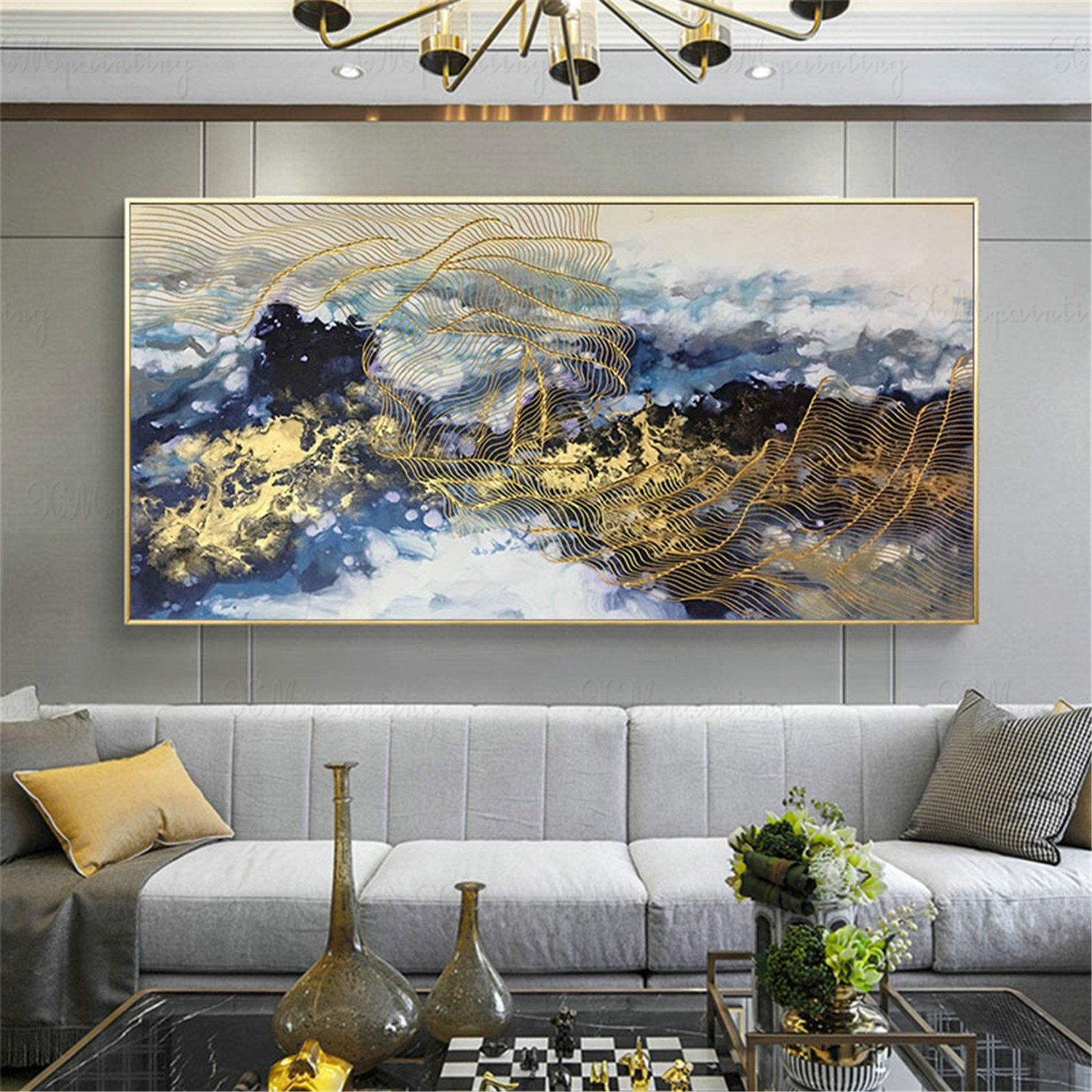 Navy Blue Gold Lines Wall Painting Wall Decor For Living Room Abstract Cloud Landscape Wall Art Home Decor Framed Acrylic Handmade Artwork Etsy Wall Art Wall Canvas Wall Art Pictures Modern art frames for living room
