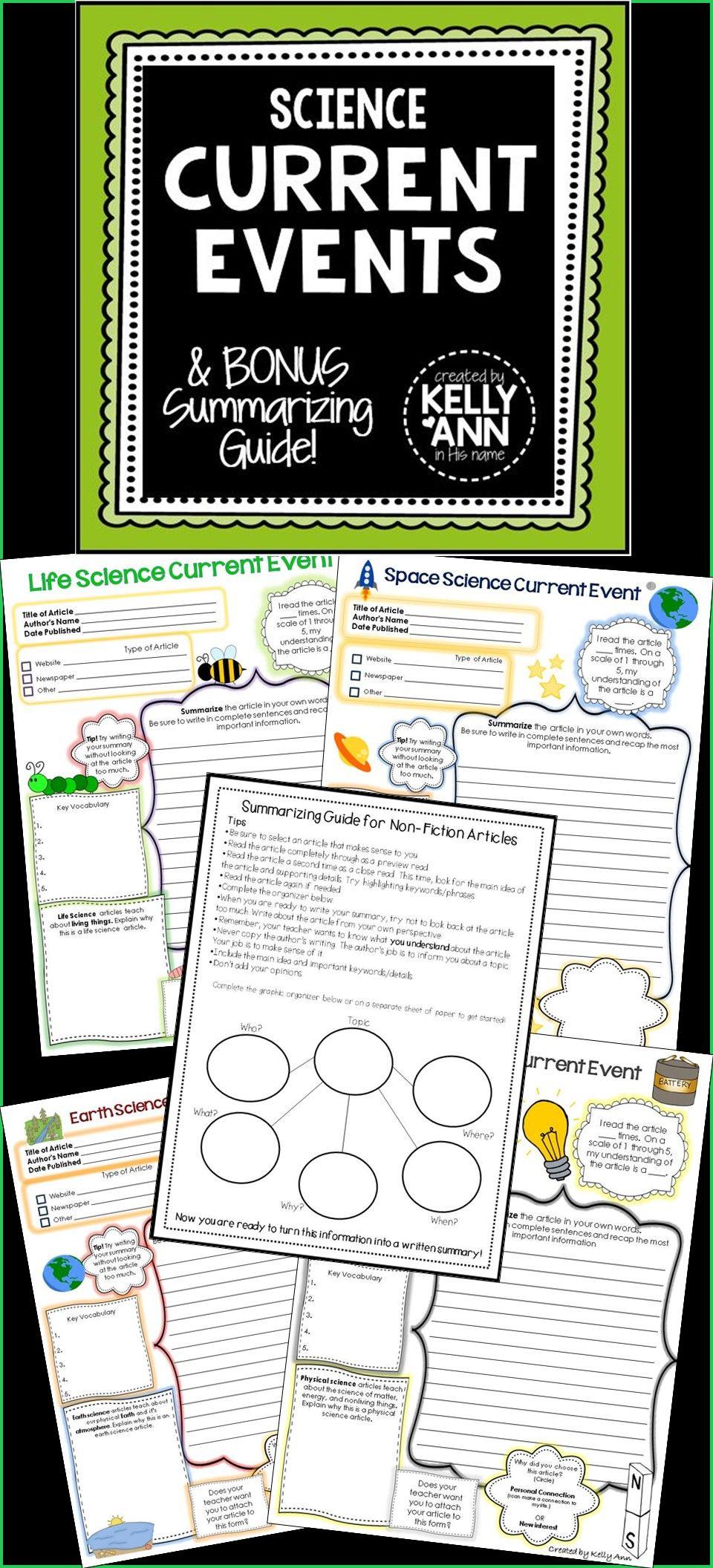 Science Current Events Worksheets Bundle Current Events Worksheet Science Current Events Current Events