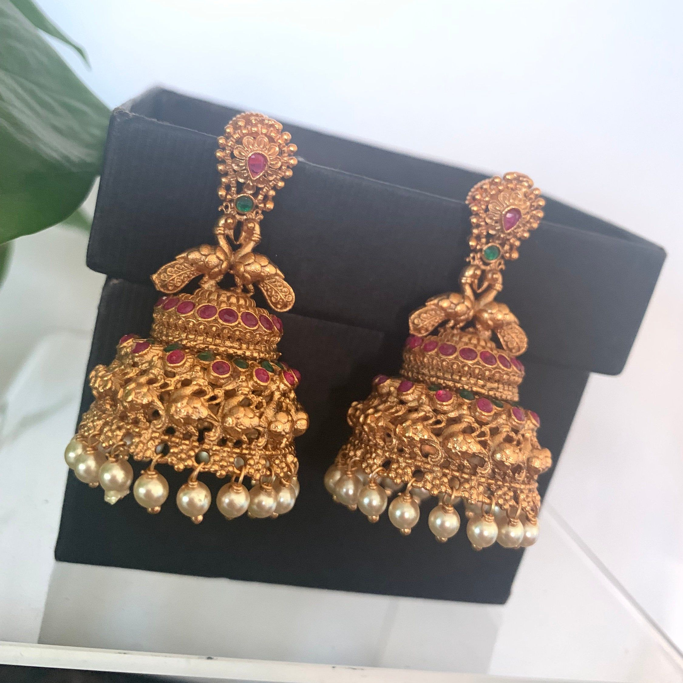 Antique gold finished ruby emerald peacock jhumkas