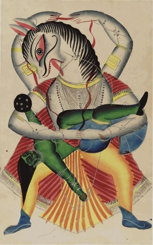 The Narasimha (man-lion) avatar, from the Kalighat 'Indian Gods' album , West Bengal, 1875