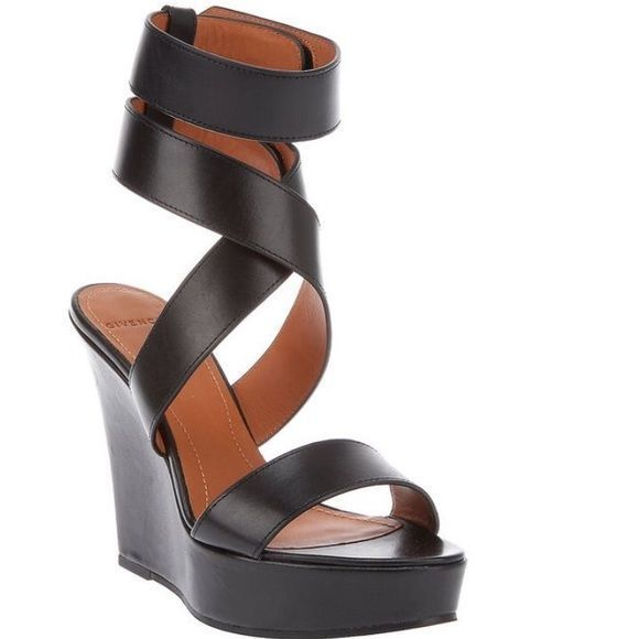 cf8854ee685e GIVENCHY Black Leather Gladiator Wedge Heel Sandal 100% AUTHENTIC - size 38  (US size 8) Givenchy gladiator sandal wedges feature a strap across the…