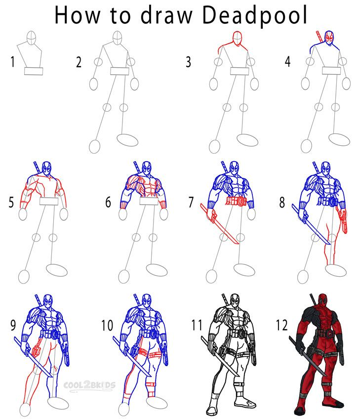 how to draw deadpool step by step drawing tutorial with pictures