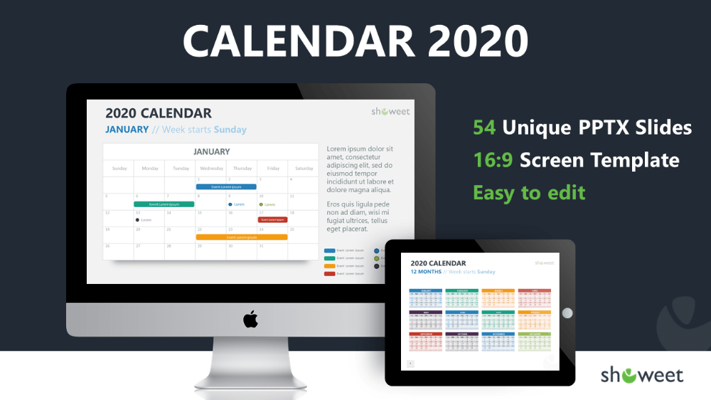 2020 Calendar For PowerPoint And Google Slides - Showeet.com (With