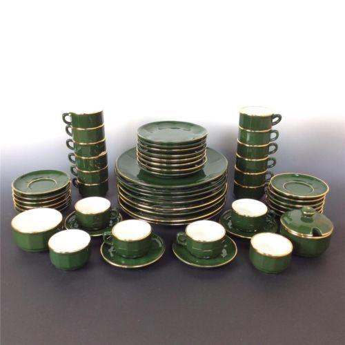 Apilco france gold green dinner service plates cups bowls mugs coffee tea  sc 1 st  Pinterest & Apilco-france-52pcs-gold-green-dinner-service-plates-cups-bowls-mugs ...