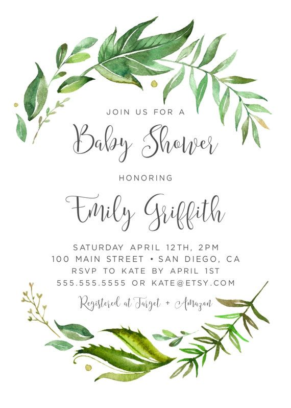 Greenery baby shower invitation baby shower invitation baby greenery baby shower invitation baby shower invitation filmwisefo Images