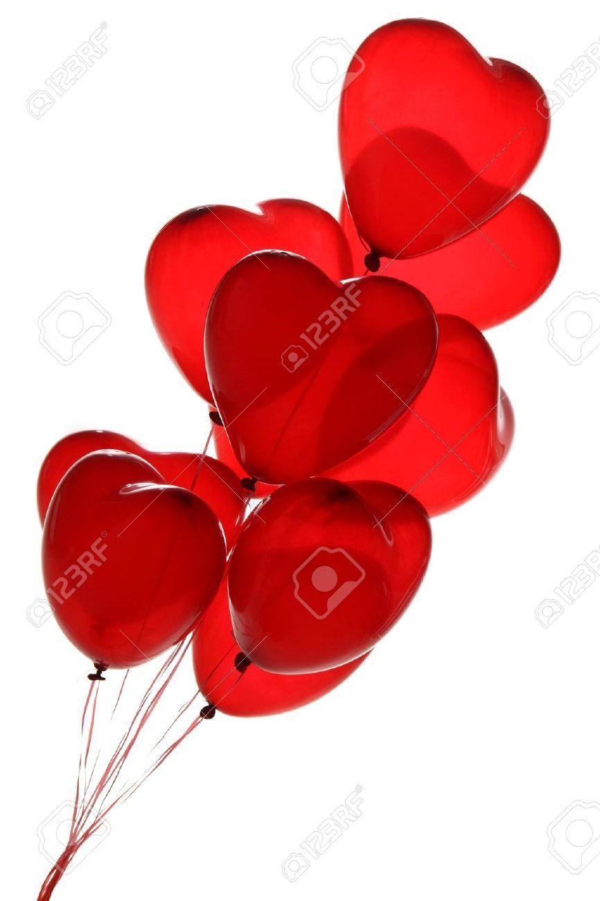 Ballons Coeur Rouge Sur Un Fond Blanc Banque D Images Et Photos Libres De Droits