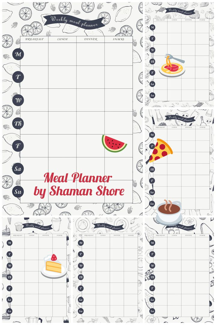 Daily meal planner template, meal planning printable pdf a4 - daily menu planner template