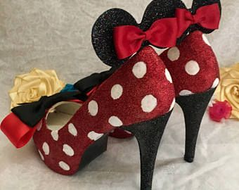 0dfa9ab215ee Minnie Mouse Glitter Shoes - Red and White Polka Dot High Heels with Disney  Ears and a Red and Black Bow Handmade