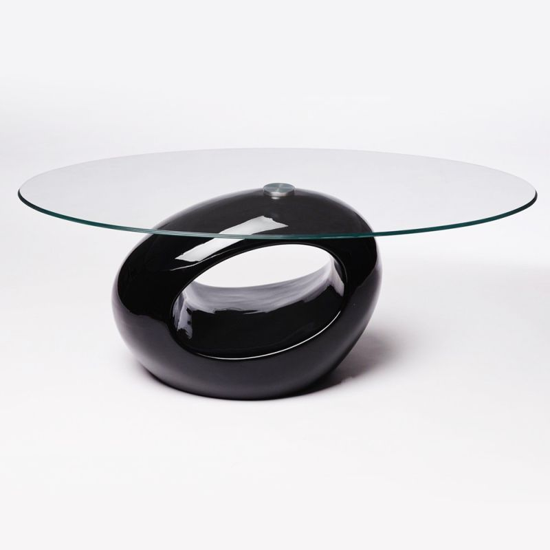 Kobby High Gloss Glass Oval Coffee Table In Black Oval Coffee