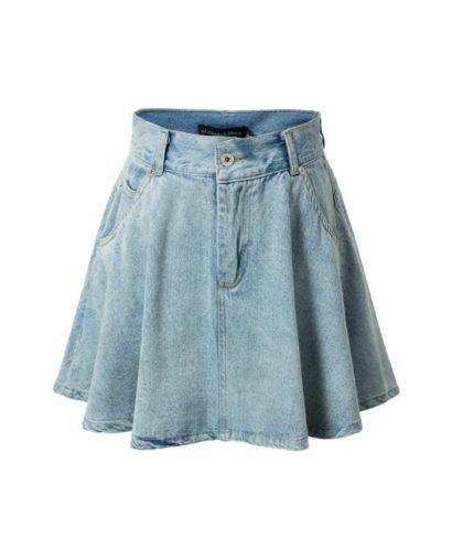 a27af99e01c saias jeans rodada com bolsos. saias jeans rodada com bolsos High Waisted  Denim Skirt ...