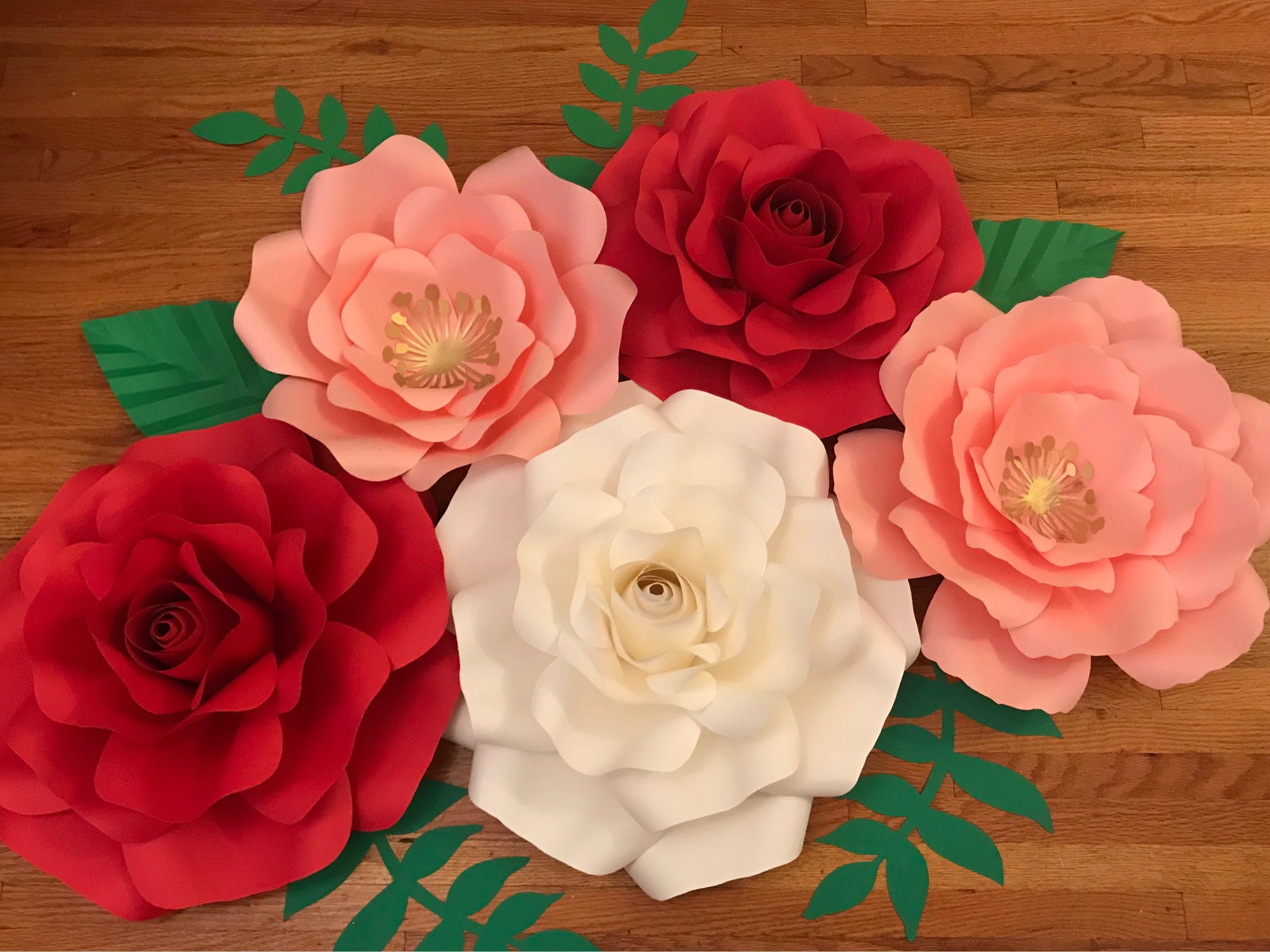 5pcs Paper Flowerroses Set For Nursery Weeding Birthday Baby