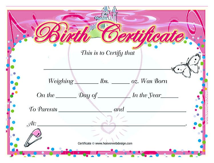 Cute Looking Birth Certificate Template , Birth certificate template - birth certificate word template