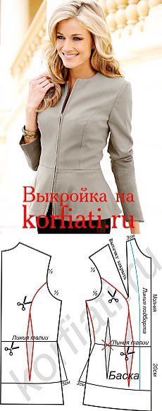 Zip Front Peplum Jacket | tipare sacou | Pinterest | Nähen, Kleid ...
