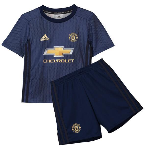 8ada25c62 Manchester United 18-19 Soccer Football Third Away Navy Children's Jersey  Kit(Shirt Short)