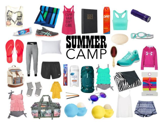 """""""Off to Camp!"""" by maddiel19 ❤ liked on Polyvore featuring Wet Seal, NIKE, Colgate, LAFCO, Osprey, European Heritage, The North Face, Under Armour, AERIN and Asics"""