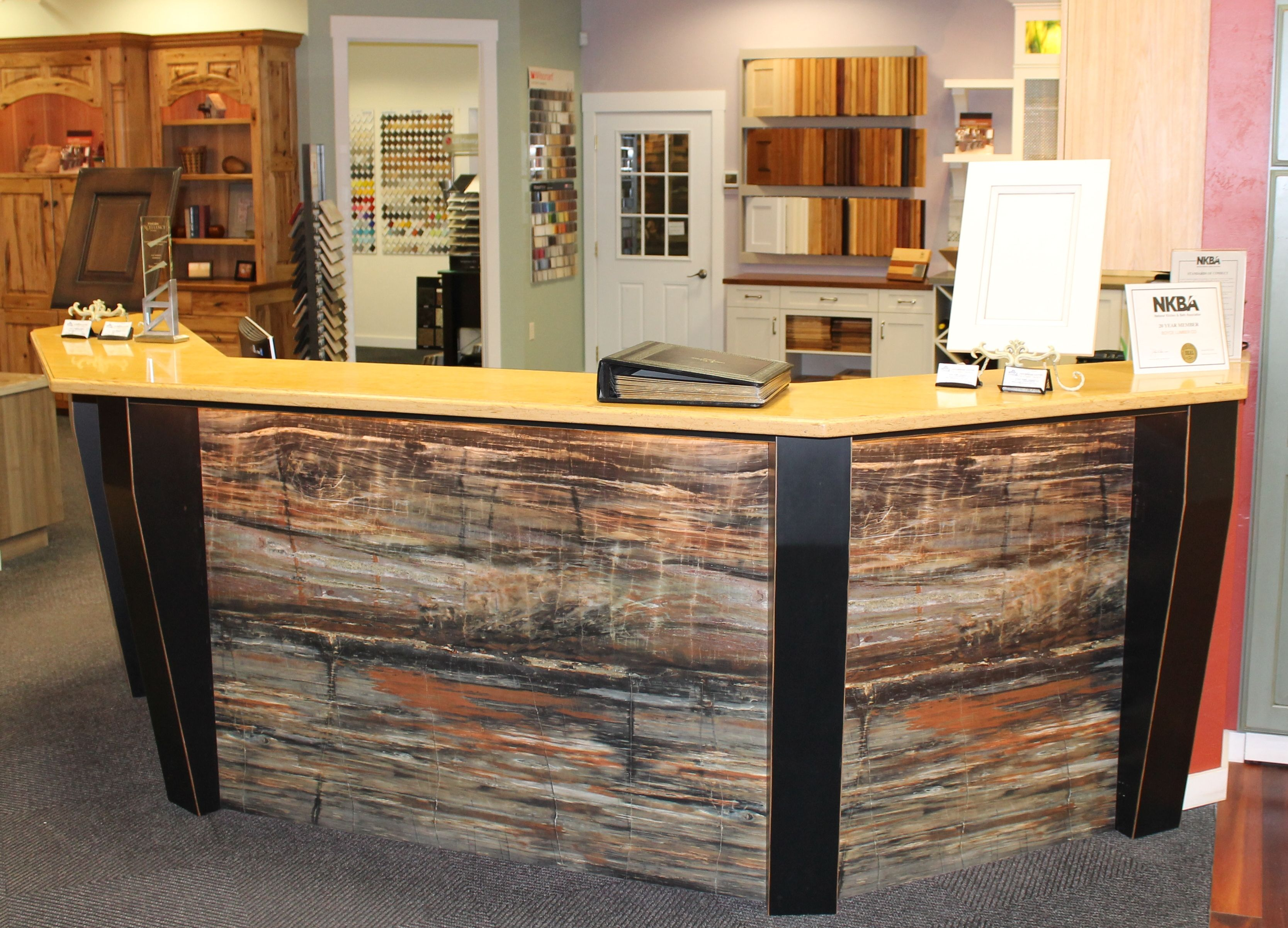 Formica desk front - Petrified Wood, Corian Countertop ...