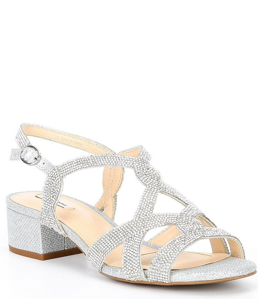 Alex Marie Crennan Rhinestone Block Heel Dress Sandals