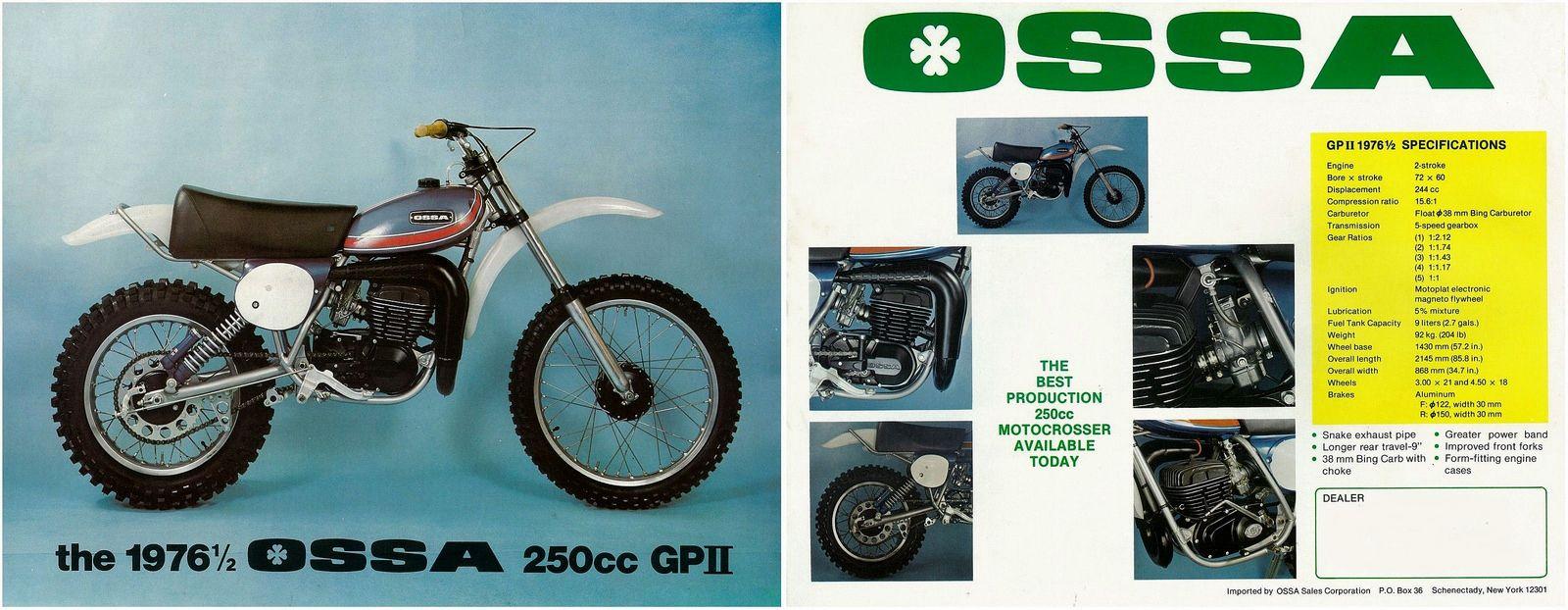 Ossa Brochure Phantom 250 As Gp Ii Gpii 1976 1977 250cc Trike Phantom