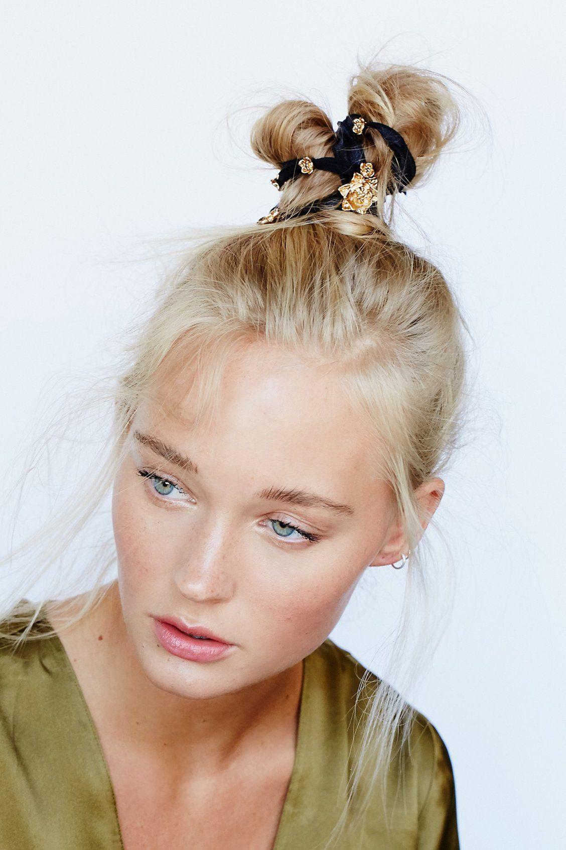 Metal rosebud hair ties free people hair pinterest hair ties